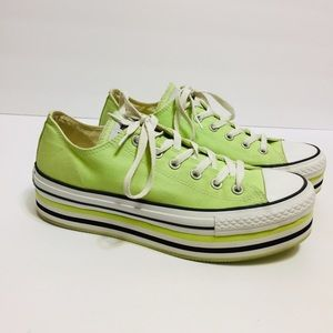 Converse All Star Platform Lime Green Shoes. 10